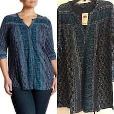 LUCKY BRAND SPLIT NECK PEASANT TOP BLOUSE Teal Multi Women Plus Size 1X New