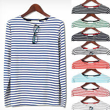 Mens Premium Thin Stripe Long Sleeve Casual T-shirts Tee Top D-026 S/M KOREA