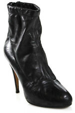 Brian Atwood Black Leather High Heels Ankle Booties Size 36.5 6.5