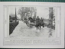 1915 WWI WW1 PRINT ~ CANADIAN TRANSPORT FLOODED ROAD LARKHILL TRAINING CAMPAIGN