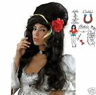 Adult Amy Winehouse 50s Black Beehive Wig Fancy Dress Costume Tattoos Rose New