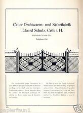 Draht Drahtwaren Schulz Celle XL Reklame von 1924 Staket Werbung Ad Zaun Tor