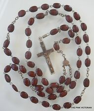VINTAGE ESTATE signed ornate CHRISTIANITY ROSARY BEAD engraved necklace w/ stand