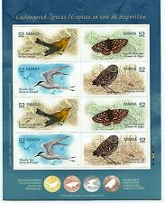 Canada Stamps -Booklet Pane of 8 -Endangered Species, Sky Creatures -Sc.#2289b