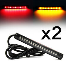 2x Flexible 17 LED Strip Light Brake Turn Signal Indicator Red+Amber Motorcycle