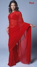 India Pakistan Georgett Chiffon Sari Duppata Dress Panel Curtain saree red saree