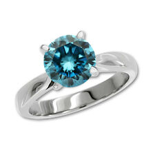0.5 Carat Blue SI2 Round Diamond Solitaire Engagement Ring 14K White Gold
