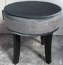 Silver Grey Suede Diamante Bling Footstool Rest Pouffe Seat New & Next Day Post