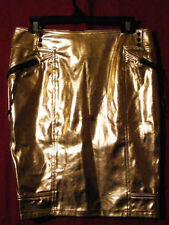 Lip Service VICE Rare Metallic Gold Moto Pencil Knee Skirt L Rave Festival Punk!