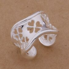 925 Sterling Silver Fashion Heart Wave Adjustable Wrap Band Ring / Thumb
