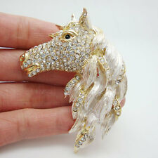 Unique Horse Animal Horsehead Clear Rhinestone Crystal Gold-plated Brooch Pin