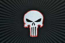Skull,The Punisher,Patch,Aufnäher,Aufbügler,Badge,Iron On,Badge,White& Red
