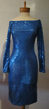 Patrick Kelly Vintage 1970's Blue Sequin Dress Size 10 US