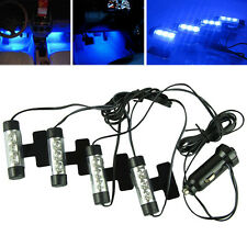 4 in 1 Luminoso Interni Auto Neon Blu 3-LED Luci Kit Glow 12V Lampada con