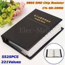 5525PCS 221 Values 0805 Chip Resistors SMD 1% 0Ω-20MΩ Assortment Kit Sample Book