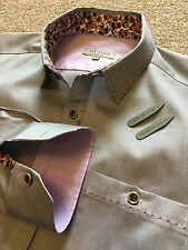 BNWOT TED BAKER PEWTER MAT SILVER FLORAL FLOWER DETAIL SHIRT SIZE 2 COST £95