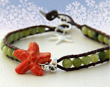 Coral Reef Leather Wrap Anklet Green Brown Orange Starfish Coral