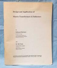 Design and Application Of Matrix Transformers & Inductors 1989 Edward Herbert dq