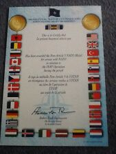 NATO Non-Article 5 Medal Certificate ISAF