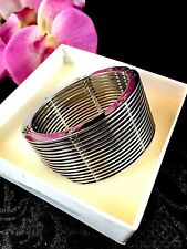 SENSATIONALLY COOL ITALIAN ZOPPINI STAINLESS STEEL MODERN ART WIDE CUFF BRACELET