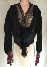 Antique Victorian Chiffon Dress Bodice Embroidered Lace Silk Braided Ruching Vtg