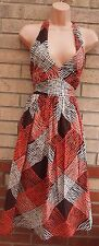 NEXT HALTERNECK SEXY SKATER ABSTRACT CHECK BROWN PINK GYPSY FLIPPY DRESS S 8 10