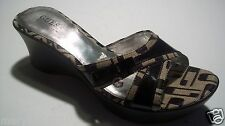 Guess Marciano Black Monogram Canvas Slide Sandals Heels Shoes Size 8.5 @cLOSeT