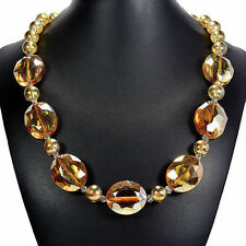 Amber Fire Crystal Necklace Handcrafted Bead Jewellery UK Gift Idea