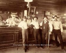 WESTERN SALOON VINTAGE PHOTO INTERIOR WILD WEST BAR COWBOYS 1890s- 20821