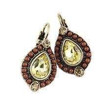 Nice Bohemian Vintage Style Rhinestone Crystal Water-drop BROWN YELLOW Earrings