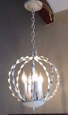 VTG Shabby Chic Ivory Hanging Ceiling Light Fixture Twisted Metal Leaves Lamp