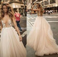 2017 Berta V-Neck Wedding Dresses Applique A-Line Sleeveless Bridal Gowns Custom