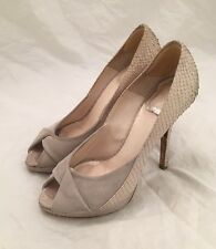 Womens - CHRISTIAN DIOR - Ivory Python Beige Suede Stiletto Heel Pumps 6 36.5