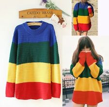 Ladies Casual Loose Rainbow Striped Jumpers Sweater Pullover Knit Tops