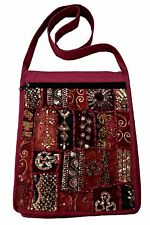 JORDASH EMBROIDERED RECYCLED SARI PATCHWORK COTTON SHOULDER MESSENGER BAG MAROON