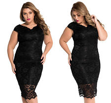 Women Ladies Plus Size 16 Lace Overlay V Neck Dress Casual party Midi Evening