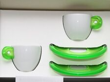 2 GUZZINI ESPRESSO White Porcelain Cups w/Green Acrylic Handle & Saucers Italy