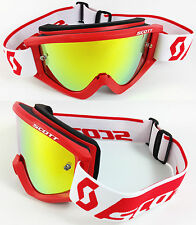 2016 SCOTT RECOIL XI MOTOCROSS MX GOGGLES RED with GOGGLE-SHOP GOLD MIRROR LENS