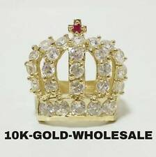 NEW MENS 10K YELLOW GOLD KING CROWN  HIP HOP STYLE RING 3164
