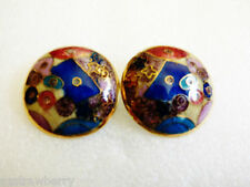 ABSTRACT CLOISONNE ENAMEL GOLD TONE ROUND EARRINGS