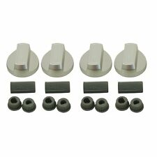 FOR Zanussi Oven Knob Silver Gas Hob Cooker Universal Switch Knobs + Adaptors x4