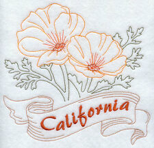 STATE OF CALIFORNIA FLOWER FLORAL REDWORK MACHINE EMBROIDERED QUILT BLOCK (HP)