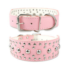 Latest Colorful 2inch Wide Studded PU Leather Dog Collars for German Shepherd