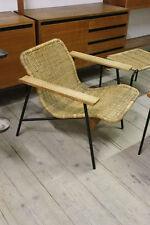 Carl Aubock-LOUNGE CHAIR-Basket braid, steel & wood-c1950