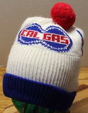 VINTAGE CAL GAS CALIFORNIA GAS WINTER SKI STOCKING HAT CAP WITH POM VGC