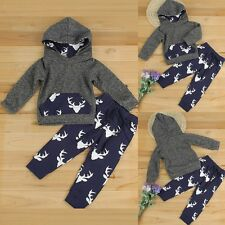 Infant Baby Boy Girl  Deer Hooded Shirt Tops Pants Costume Clothes 2PCS Set 2-3T