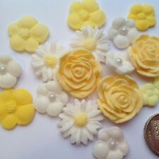 18 LEMON MIX OF ROSES AND FLOWERS SUGAR CUPCAKE TOPPERS birthday cake decoration
