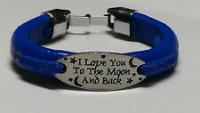 I Love You to the Moon and Back: Beautiful Blue Leather & Blue Suede Bracelet ™