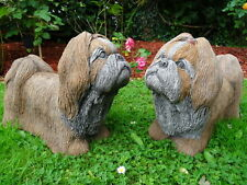 Pair Vintage Lifesize English Stone Shih Tzu Dog Garden Statues Brandy Biscuit