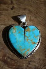 Kingman Turquoise Medium Heart Pendant by Richard Jim - Sterling Silver